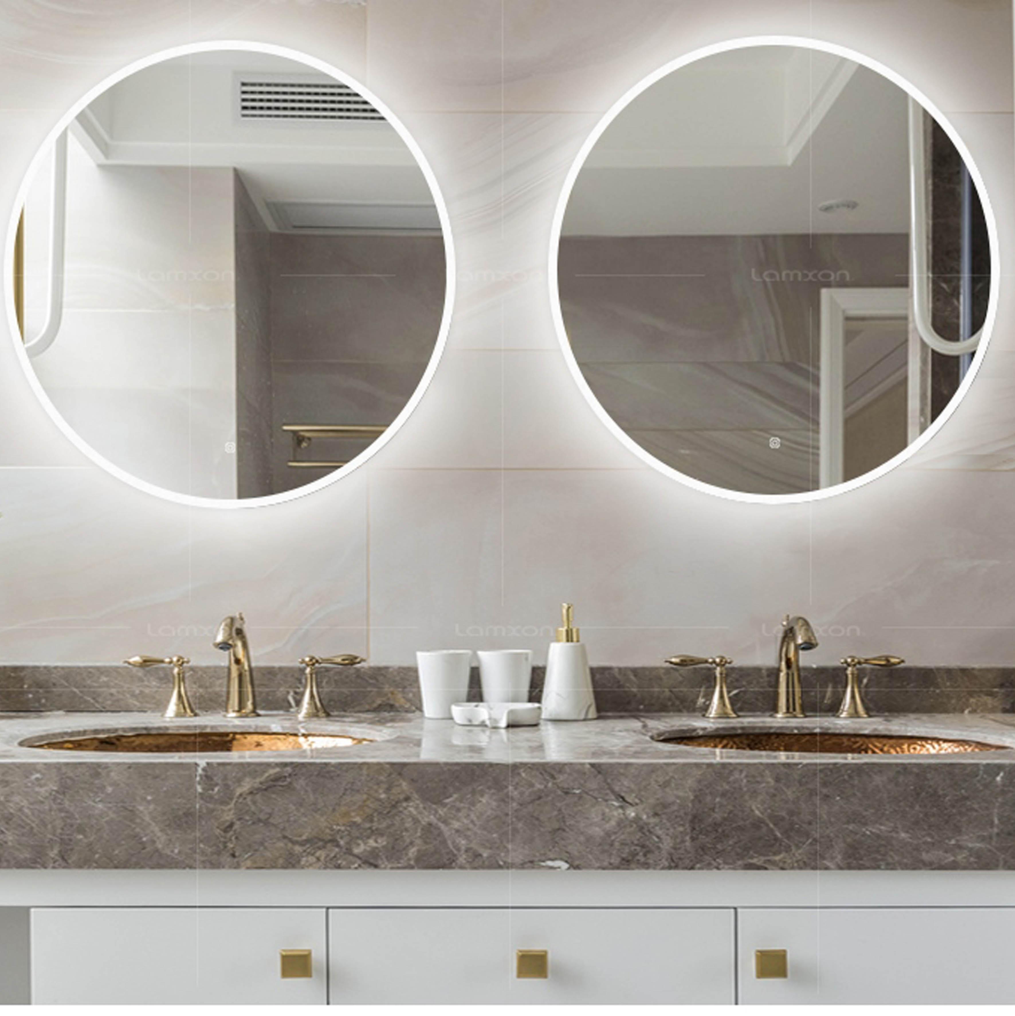 Lighted bathroom mirror